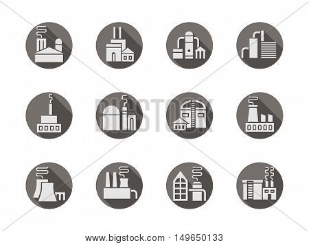 White silhouette signs of factory buildings. Industrial architecture and facilities. Production and manufacturing. Modern design gray round flat vector icons set.