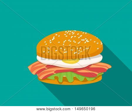 Bacon sandwich with egg in flat style vector