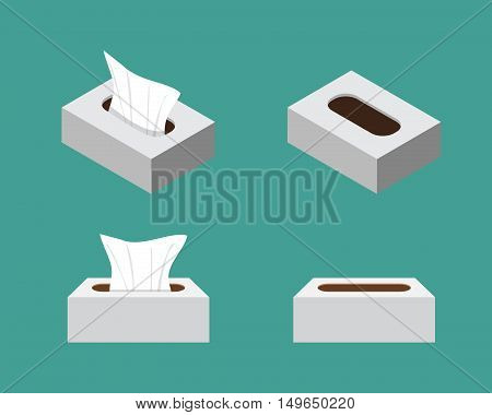 Tissue box icons in flat style vector design
