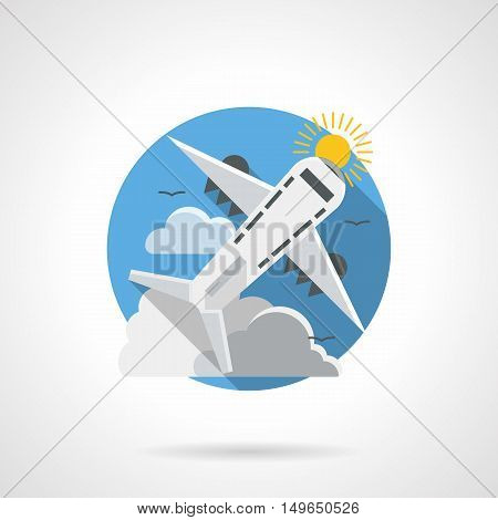 Abstract illustration of air traffic. Mode of transportation. Jet airliner, passenger airplane freight. Round detailed flat color style vector icon.