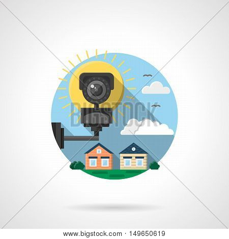 View with cctv and houses. Surveillance of street or private living area. Security system and guard technology concept. Round detailed flat color style vector icon.