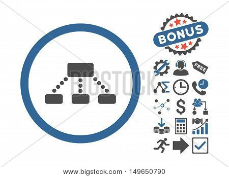 Hierarchy icon with bonus pictogram. Glyph illustration style is flat iconic bicolor symbols, cobalt and gray colors, white background.