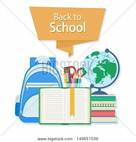 Back to school text on the orange banner. Open book with a bookmark and school supplies such as a backpack, textbooks, notebook, globe, stationery set. Flat Style Education Concept. Vector illustration.