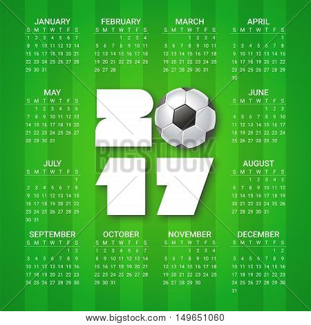 Calendar for 2017 Year with soccer ball on bright green background. Sport football games theme. Week starts from sunday. Modern Creative Vector Design Print Template. Holiday vector illustration.