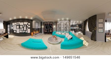 Illustration Seamless Panorama Of Living Room Interior