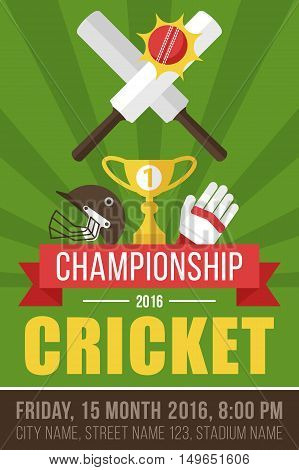 Colorful vector poster banner or flyer template for cricket championship. Flat style.