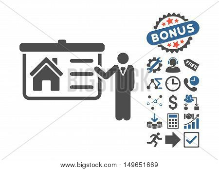 House Presentation icon with bonus icon set. Glyph illustration style is flat iconic bicolor symbols, cobalt and gray colors, white background.