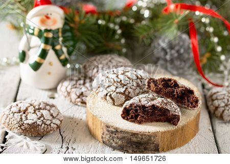 Christmas Chocolate Mint Cookies On A Wooden Background.