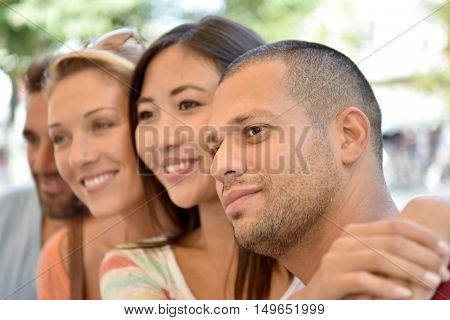 Portrait of friends being happy together, summertime