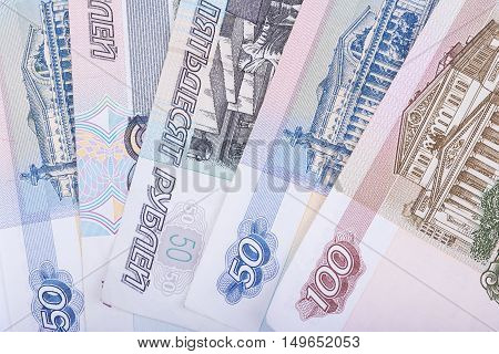 Russian rubles currency banknotes for background closeup view