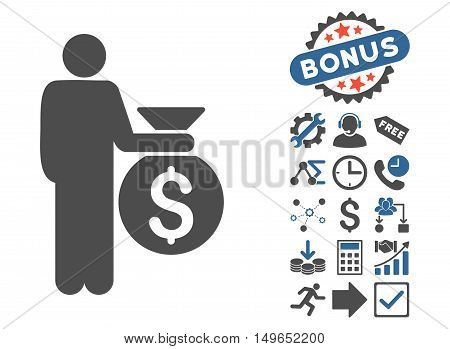 Investor icon with bonus clip art. Glyph illustration style is flat iconic bicolor symbols, cobalt and gray colors, white background.