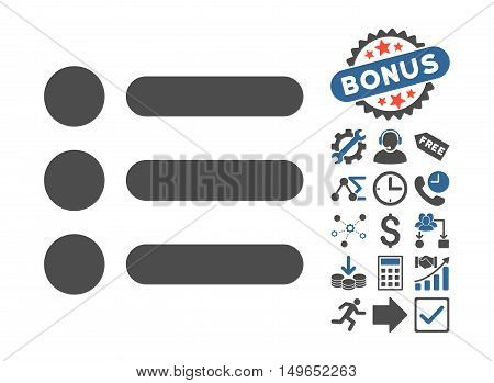 Items icon with bonus design elements. Glyph illustration style is flat iconic bicolor symbols, cobalt and gray colors, white background.