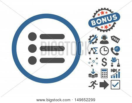 Items icon with bonus clip art. Glyph illustration style is flat iconic bicolor symbols, cobalt and gray colors, white background.