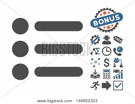 Items pictograph with bonus elements. Glyph illustration style is flat iconic bicolor symbols, cobalt and gray colors, white background.