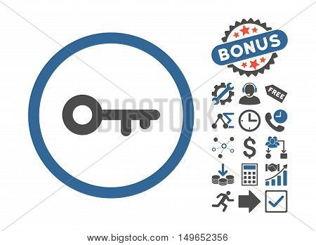 Key icon with bonus symbols. Glyph illustration style is flat iconic bicolor symbols, cobalt and gray colors, white background.