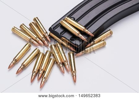 Ammunition in magazine .223/556 isolated a on white surface