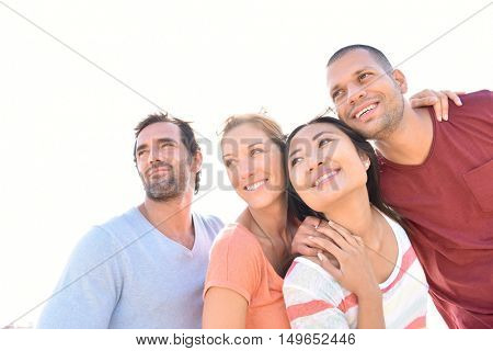 Group of friends having fun in summer