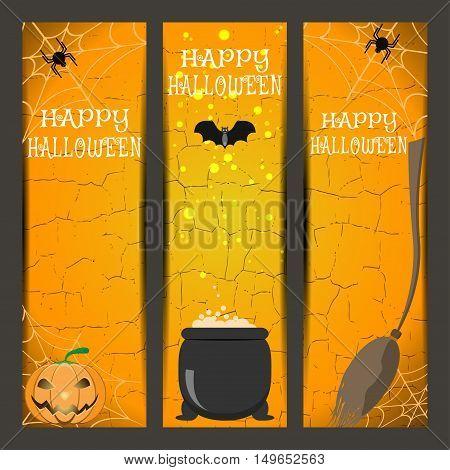 Vector set of Halloween bookmarks with broom witch boiler pumpkin spider bat on the gradient orange background.