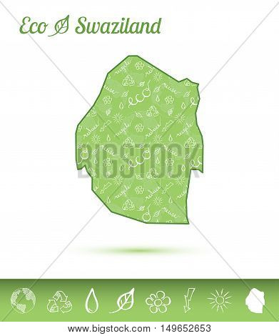 Swaziland Eco Map Filled With Green Pattern. Green Counrty Map With Ecology Concept Design Elements.