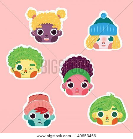 Set of vector cartoon kids faces.  Colorful flat children boy and girl characters