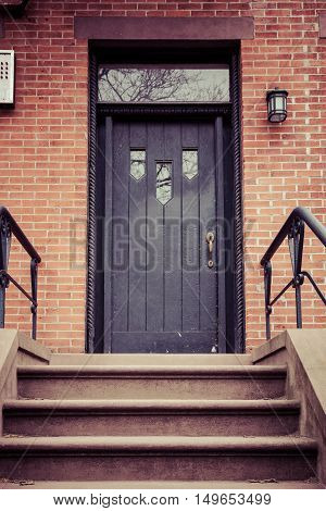 A brownstone entrance in Hoboken New Jersey.