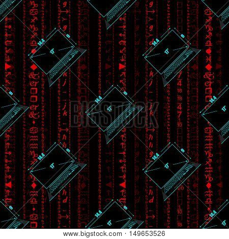 Seamless pattern a realistic laptop against the background of a flow of digits of red color.