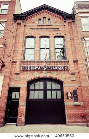 HOBOKEN NEW JERSEY - April 11 2016: The exterior of the Hoboken Fire Department Museum