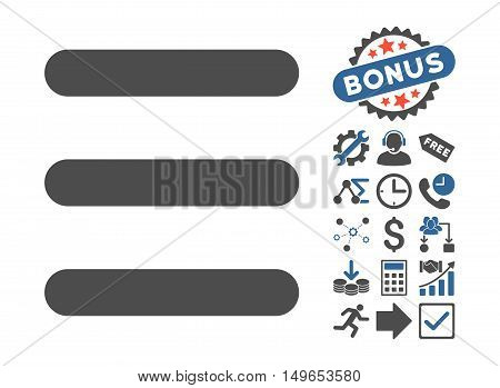 Menu Items icon with bonus pictograph collection. Glyph illustration style is flat iconic bicolor symbols, cobalt and gray colors, white background.