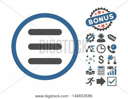 Menu icon with bonus icon set. Glyph illustration style is flat iconic bicolor symbols, cobalt and gray colors, white background.
