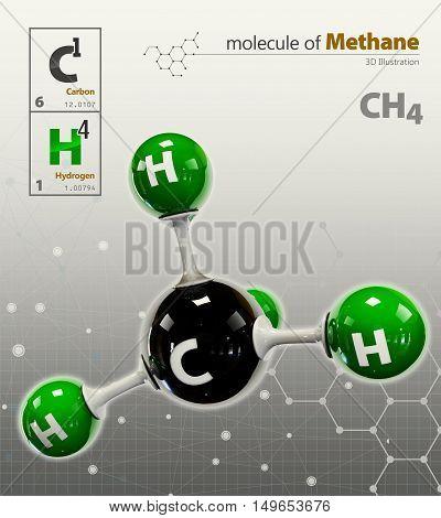 Illustration Of Methane Molecule Isolated Grey Background