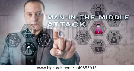 Experienced cryptographic analyst is identifying a MAN-IN-THE-MIDDLE ATTACK. Information technology concept for computer network security and active eavesdropping via unencrypted Wi-Fi access.