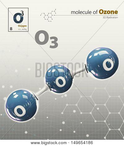 Illustration Of Oxygen Molecule Isolated Grey Background