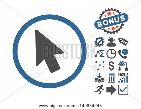 Mouse Pointer pictograph with bonus pictograph collection. Glyph illustration style is flat iconic bicolor symbols, cobalt and gray colors, white background.