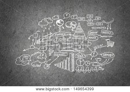 Effective business planning concept on concrete wall background