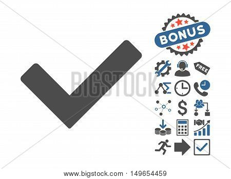 Ok icon with bonus design elements. Glyph illustration style is flat iconic bicolor symbols, cobalt and gray colors, white background.