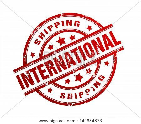 international shipping rubber stamp illustration isolated on white background