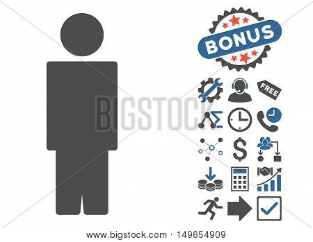 Person pictograph with bonus pictograph collection. Glyph illustration style is flat iconic bicolor symbols, cobalt and gray colors, white background.