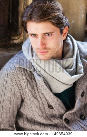 attractive young man model wearing in autumn clothes