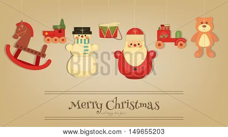 Merry Christmas and Happy New Year Card in Retro Style. Vintage Toys Collection - Wooden Xmas Santa Claus Snowman Train Bear. Xmas Postcard. Vector Illustration.