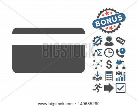 Plastic Card icon with bonus clip art. Glyph illustration style is flat iconic bicolor symbols, cobalt and gray colors, white background.