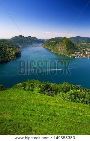 View To Lugano City, Lugano Lake And Monte San Salvatore From Monte Bre, Ticino, Switzerland