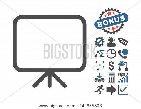Presentation Screen pictograph with bonus pictures. Glyph illustration style is flat iconic bicolor symbols, cobalt and gray colors, white background.
