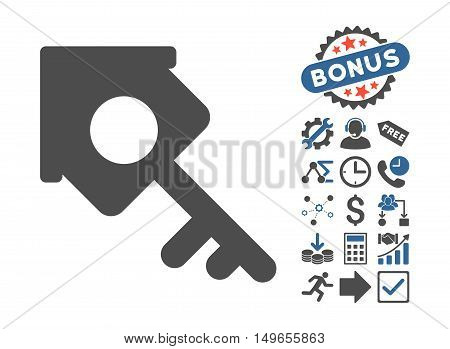 Realty Access icon with bonus images. Glyph illustration style is flat iconic bicolor symbols, cobalt and gray colors, white background.