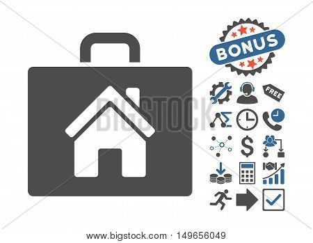 Realty Case pictograph with bonus icon set. Glyph illustration style is flat iconic bicolor symbols, cobalt and gray colors, white background.