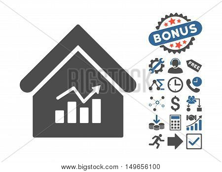 Realty Charts icon with bonus icon set. Glyph illustration style is flat iconic bicolor symbols, cobalt and gray colors, white background.