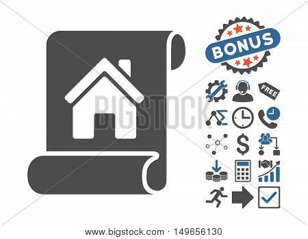 Realty Description Roll pictograph with bonus clip art. Glyph illustration style is flat iconic bicolor symbols, cobalt and gray colors, white background.