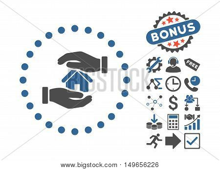 Realty Insurance icon with bonus pictograph collection. Glyph illustration style is flat iconic bicolor symbols, cobalt and gray colors, white background.