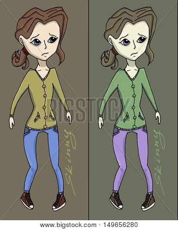 Anorexia girl vector illustration fitness health weight
