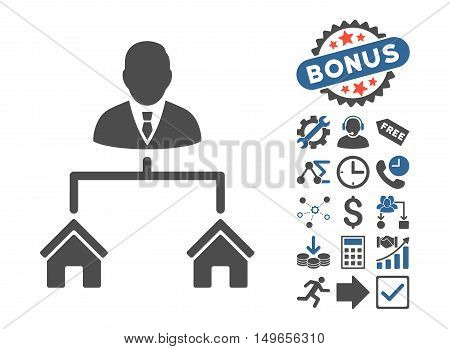 Realty Manager icon with bonus icon set. Glyph illustration style is flat iconic bicolor symbols, cobalt and gray colors, white background.
