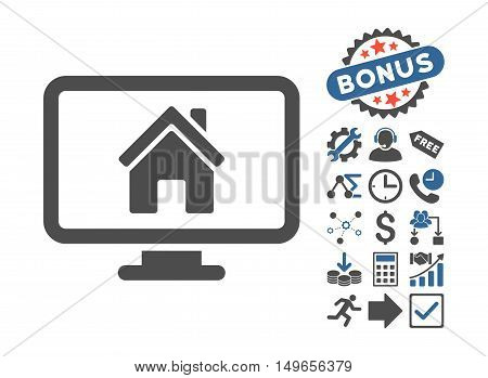 Realty Monitoring icon with bonus images. Glyph illustration style is flat iconic bicolor symbols, cobalt and gray colors, white background.